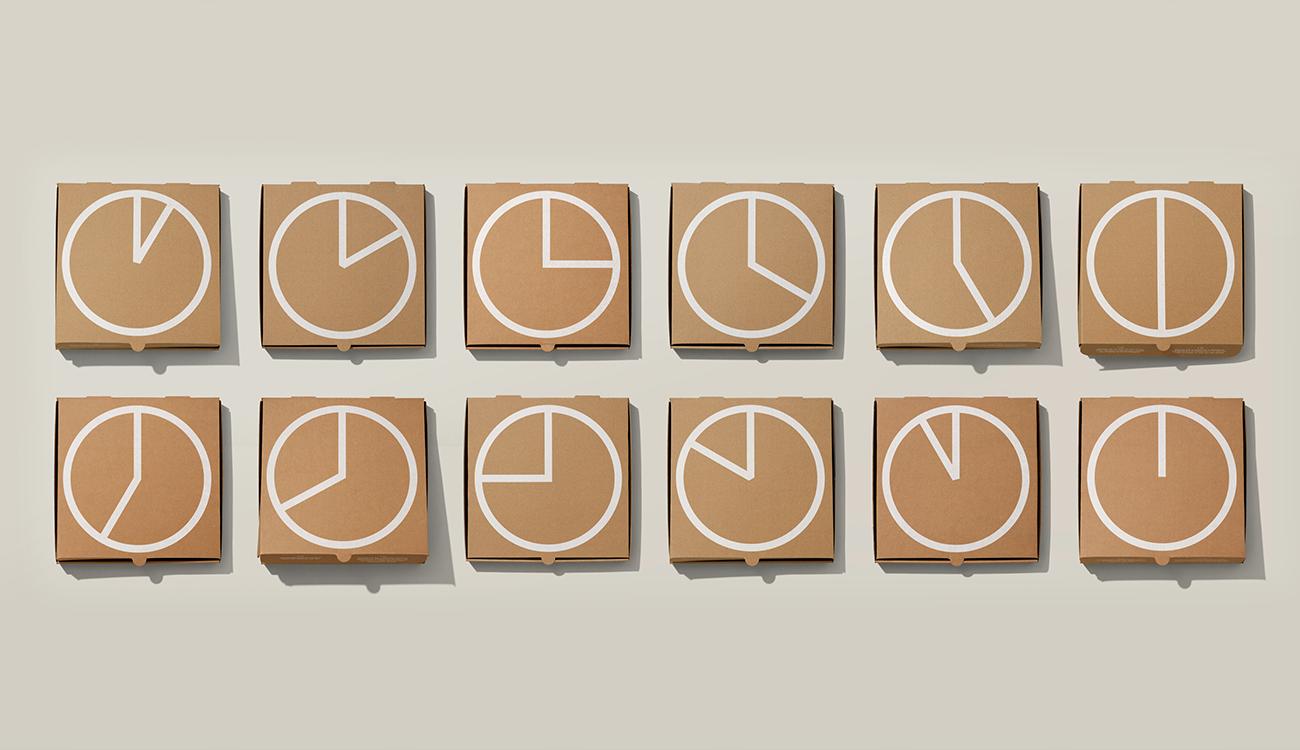 Round the Clock-the-Clock Pizza Box
