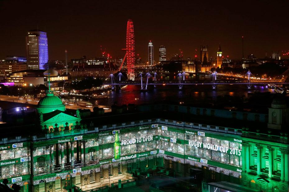 LONDON, ENGLAND - AUGUST 26:   Heineken Rugby Legends open Rugby World Cup 2015 at Somerset House to celebrate Heineken