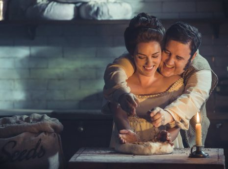 Peter Kay stars in Warburtons latest ad campaign 'Pride and Breadjudice' which celebrates 141 years of the family bakers. Thomas and Ellen are caught getting steamy in the kitchen.